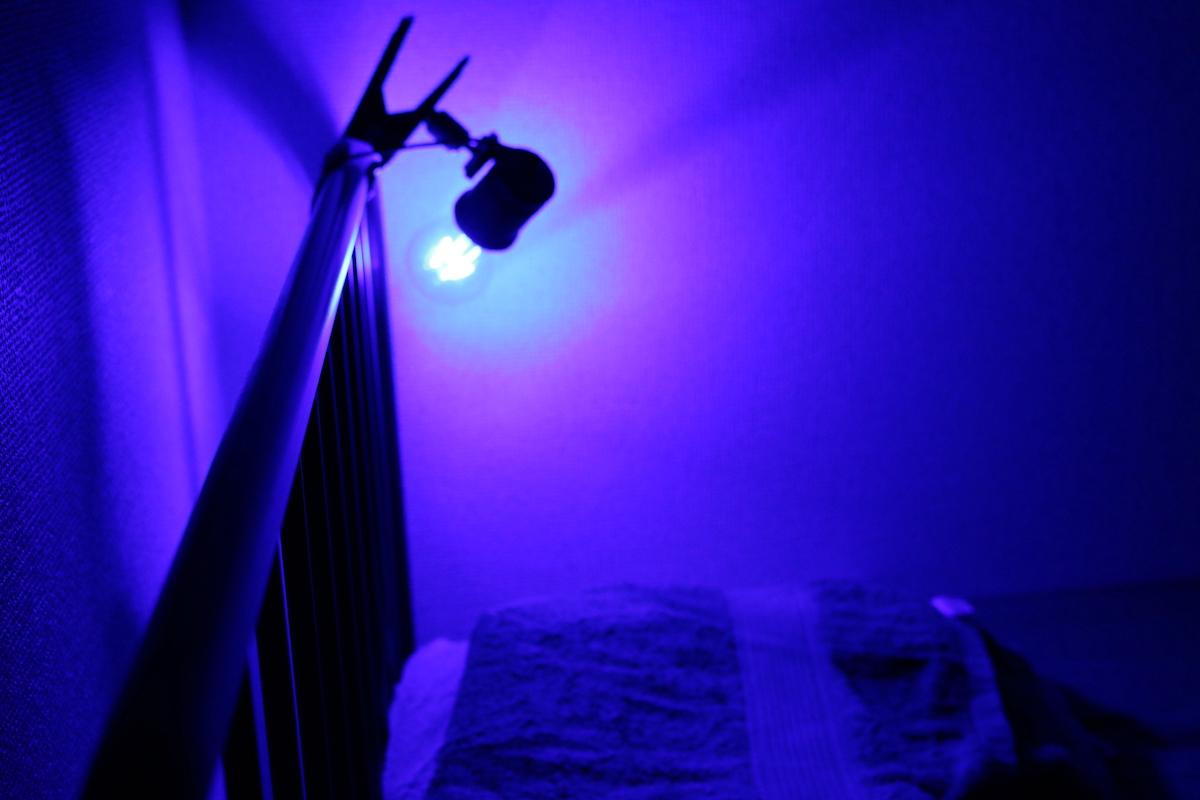 ベッドと照明